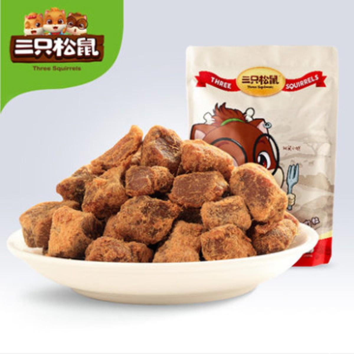 【三隻松鼠_五香豬肉粒】休閑零食肉脯鹵味小吃特產豬肉粒