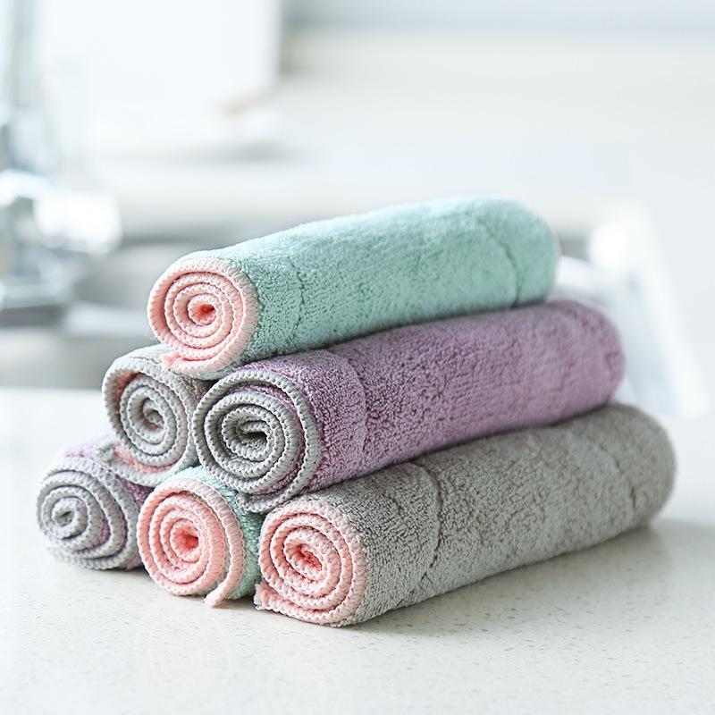 XY廚房家用雙面純色珊瑚絨洗碗布