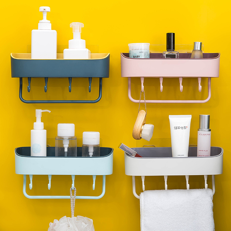 XY衛生間簡約壁掛雙色免打孔收納架