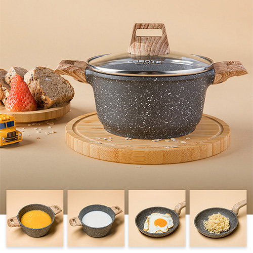carote麥飯石不粘鍋套裝(14CM湯鍋+14CM平底鍋)