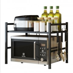 Baiying廚房台面簡約雙層伸縮置物架微波爐架