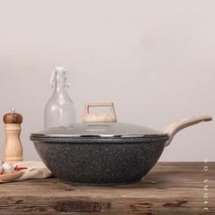 Carote麥飯石30cm/32cm平底不粘炒菜鍋