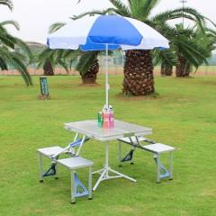 戶外連體便攜式折疊桌椅傘套裝