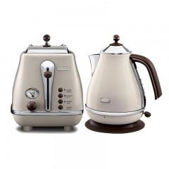 【兩件套】DeLonghi德龍icona復古早餐系列電水壺+多士爐