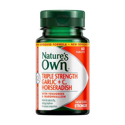 Nature's Own Triple Strength Garlic + Vitamin C + Horseradish Tab X 60