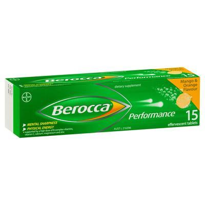 Berocca 拜維佳 Performance維生素B+C+鈣鎂鋅水溶泡騰片(芒果和香橙味)15片(免疫力)