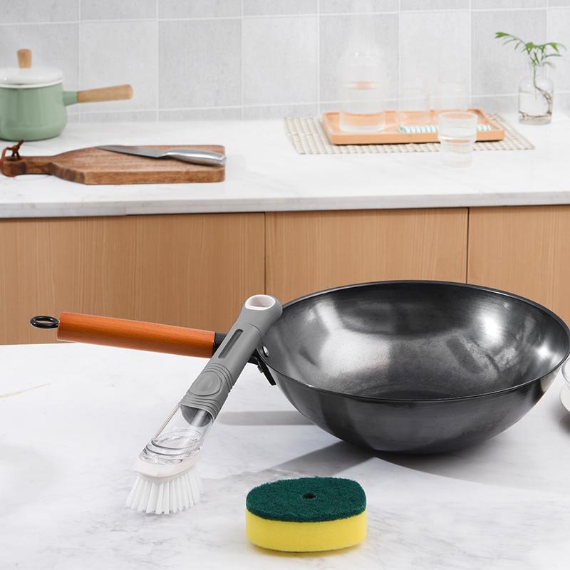 刷鍋不髒手 液壓式清潔鍋刷 1柄雙頭